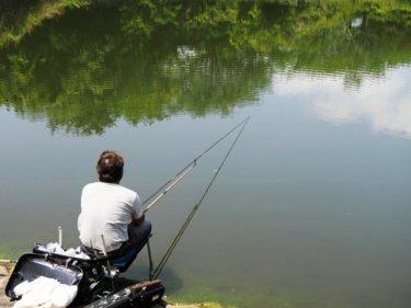 延べ竿で釣り